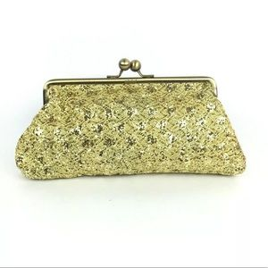 Unlisted Sequinned Gold Clutch Vintage Look
